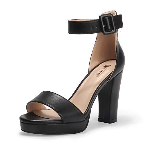IDIFU Women's IN4 Sabrina Ankle Strap High Chunky Heels Platform Dress Heeled Sandal (Black Pu, 8.5) from IDIFU