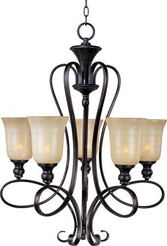 Maxim 21305WSOI Infinity 5-Light Chandelier, Oil Rubbed Bronze Finish, Wilshire Glass, MB Incandescent Incandescent Bulb , 100W Max., Dry Safety Rating, Standard Dimmable, Opal Glass Shade Material, 6900 Rated (Infinity 5 Light Chandelier)