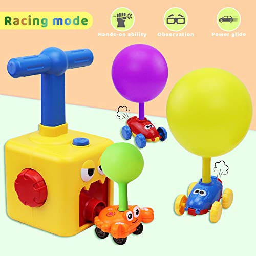 Balloon Launcher Car Toy Set - Balloon Powered Car, Inflatable Balloon Pump Cars Racer Kit with Manual Balloon Pump Balloon Toys for Kids