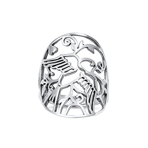 - Noureda Sterling Silver Fancy Cut-Out Dove Design Wide Band Ring with Face Height of 28MM
