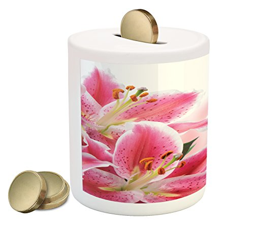 White Lily Florist (Pink and White Piggy Bank by Ambesonne, Florist Theme with Lilies Close Up A Fresh Bouquet for the Loved Ones, Printed Ceramic Coin Bank Money Box for Cash Saving, Pink Orange Green)