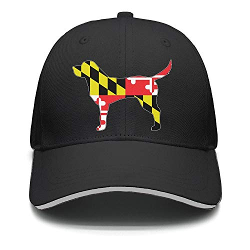 WOEADSJD Maryland Flag Labrador Retriever Dog Unisex Hat Adjustable Curved Outdoor Trucker Hats