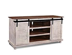 westgate white 66 sliding barn door tv stand media console kitchen dining. Black Bedroom Furniture Sets. Home Design Ideas