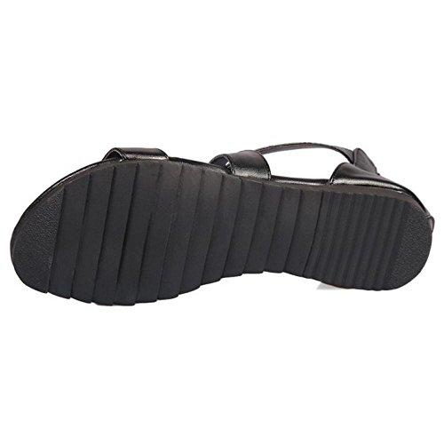 Black Cinturino Scarpe Sandali TAOFFEN Donna AfIPn0qpx