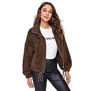 SweatyRocks Women's Faux Fur Jacket Coat Long Sleeve Zip Up Warm Outwear Cardigan