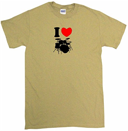 (I Heart Love Drum Set Logo Men's Tee Shirt Large-Tan )
