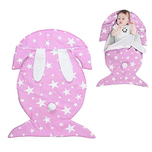 OSAYES Newborn Baby Swaddle Blanket Wrap, Thicken Kids Sleeping Bag Plus Fleece Cotton Warm Rabbit Sleeping Sack Stroller Wrap for Baby Boys -