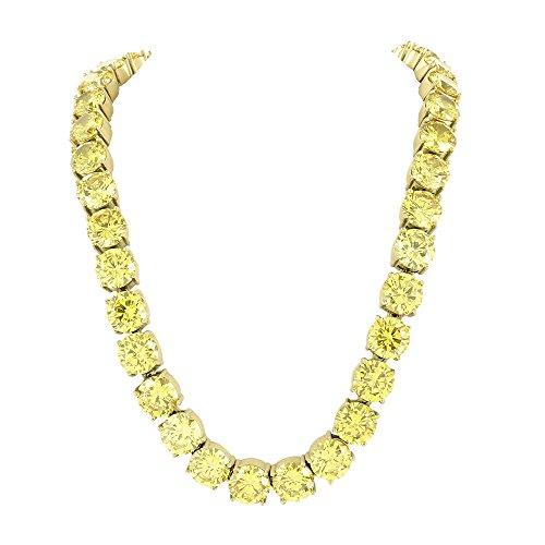 Solitaire diamant Lab-Collier Femme-Canari Coupe ronde en acier inoxydable ton or 10mm