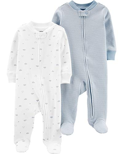 Carter's Baby Boys Footed Sleeper Cotton Sleep and Play Pajama with Zipper, Set of 2 (9 Months, Blue and White)