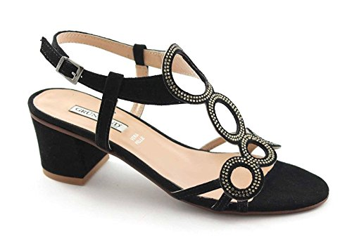 GRUNLAND Aulo SA1344 Ante Negro Mujer Sandalias de Diamantes de Imitación Nero