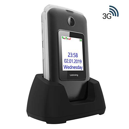 🥇 Ukuu Teléfono para Personas Mayores 2.8″+1.8″ Dual LCD Pantalla 3G Teclas Grandes Telefonos Móvil con Tapa Dual SIM Desbloqueo Alto Volumen