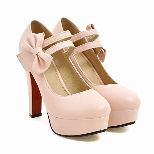 Mee Shoes Womens Sexy Bows Ankle-wrapped High-heel Court Shoes Pink k8xK8E