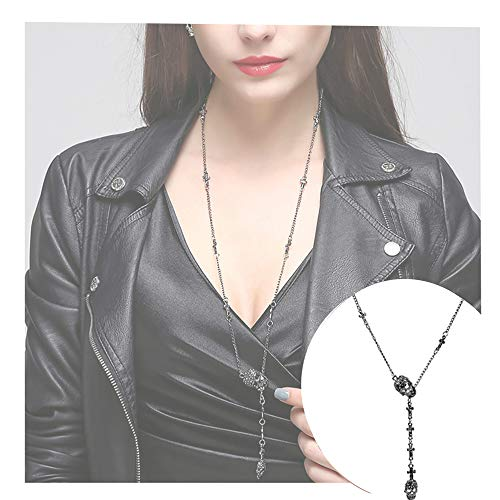 EVBEA Skull Necklace for Women Long Gothic Jewelry Cool Cross Rock -