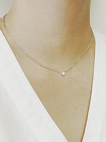 Diamond Solitaire Necklace, Diamond Necklace, Natural Brilliant Cut 6 Prong Diamond Necklace, Minimalist 0.12 Ct. Diamond Prong Set Necklace - 0.12 Ct Natural