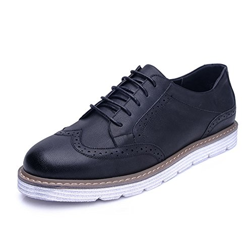 Men's Shoes Feifei Spring and Autumn Thick Bottom Retro Leisure Leather Shoes 2 Colours (Color : Black, Size : EU39/UK6/CN39)