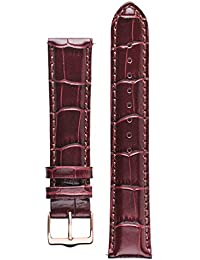 Senator watch band. Replacement watch strap. Genuine Leather. Gold and Rose Gold buckles (20 mm - short, Cognac - Rose Gold Buckle)