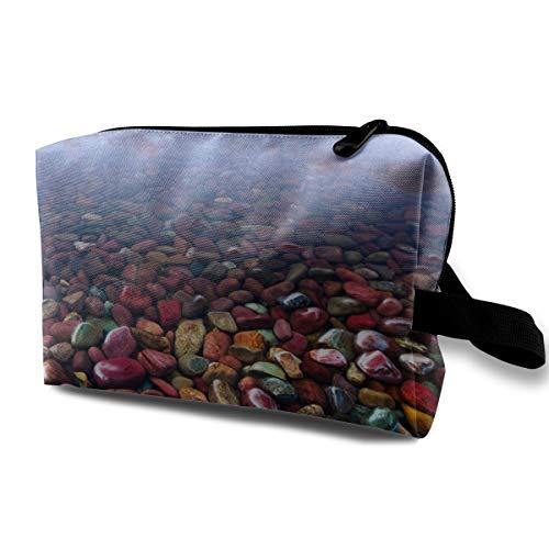 - BradStaplesz Unisex Blue Pebble Stone Rocks Fashionable Music Band Travel Cosmetic Storage Bag
