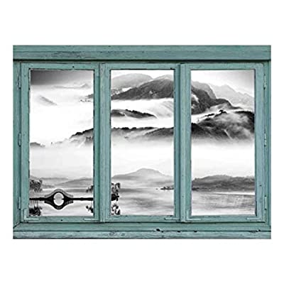 Vintage Teal Window Looking Out Into a Black and White Lake with a Mountain View - Wall Mural, Removable Sticker, Home Decor - 36x48 inches