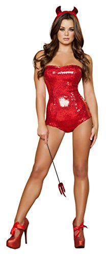 Costumes Hottie Devilish (Sexy Women's 3pc Devilish Delight Red Sequin Romper Hottie Costume)