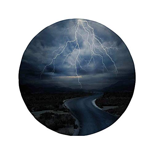 Non-Slip Rubber Round Mouse Pad,Lake House Decor,Thunderstorm Over The Road Vibrant Strong Beam Before The Sky Blows Weather Image,Dark Blue Grey,7.87