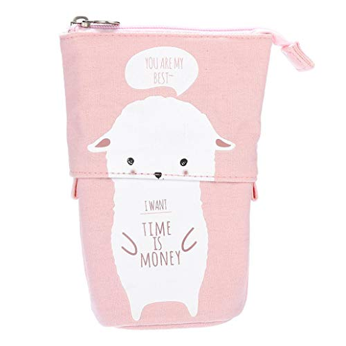 Lavany Pencil Case,Cute Cat Canvas Pencil Bag Transformer Stand Store Pencil Holder with Zipper for Boys Girls (G) -