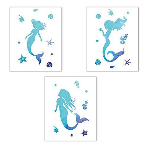 - HLNIUC Set of 3 (8x10) Mermaid Canvas Wall Art Posters,Fairytale Ocean World Bathroom Print Wall Art Painting Picture and Teenage Girl Kid Room Print Home Decor