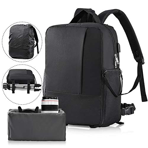 Camera Backpack,Apsung DSLR Camera Bag Rain Cover,Laptop Travel Backpack USB Charging Port Men Women,Waterproof Camera Case Compatible Sony Canon Nikon Lens Tripod Accessories