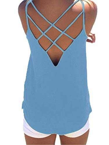 Famulily Women's Maternity Tank Tops Summer Criss Cross Open Back Spaghetti Strap Sleeveless Shirts Casual Cami Blouses Light Blue Large