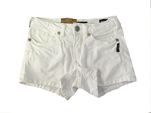 - Women's Silver Jeans Mid Rise Aiko White Jean Mid Denim Stretch Shorts (31)