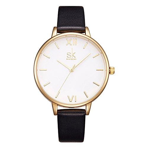 Women Watches Leather Band Luxury Quartz Watches Girls Ladies Wristwatch Relogio Feminino (K0056-Black) (Classy Women Watches)