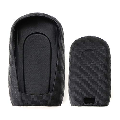 iJDMTOY Carbon Fiber Pattern Soft Silicone Key Fob Cover Case For For 2016-up Buick Envision, 2017-up Buick LaCrosse Encore, 2018-up Buick Regal Enclave Smart Key