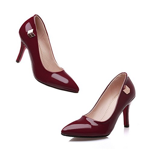 Metal with Kitten Women's Ornament Shoes Claret Toe WeenFashion PU Heels Pointed Pumps 1zxawn