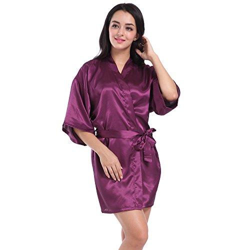 SIMJOY Women\'s Satin Short Kimono Robe Plain Dressing Gown Bathrobe ...