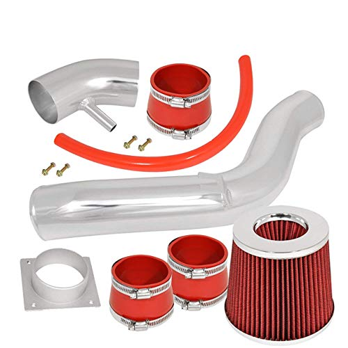 For 2002-2006 Nissan Altima (2.5L 4 Cylinder Model Only) Aluminum High Flow Cold Air Intake System Polish Pipe with Air Filter Red