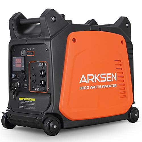 Arksen 3600W Super Quiet Portable Gas-Powered Inverter Generator With Remote Electric Start - USB Outlet & Parallel Capability, CARB EPA Compliant