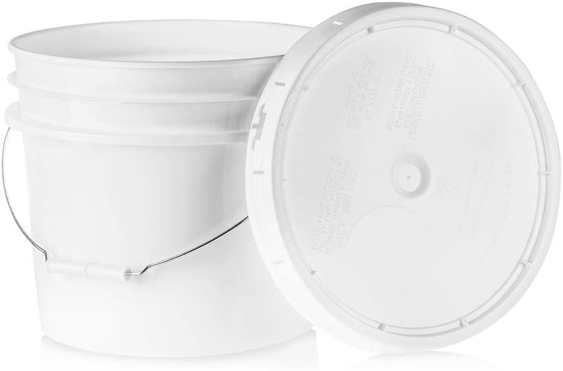 3.5 Gallon White Plastic Bucket & Lid - Durable 90 Mil All Purpose Pail - Food Grade - Contains No BPA Plastic - Recyclable - 5 Pack