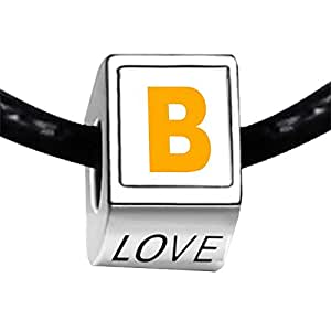 Chicforest Silver Plated Yellow Letter B Photo LOVE Charm Beads Fits Pandora Charm
