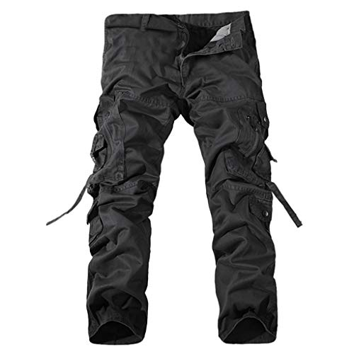 Men Mid Waist Long Trouser Cargo Pants Straight-Fit Pant Beach Work Slacks Trousers with Multi-Pocket by Lowprofile Black ()