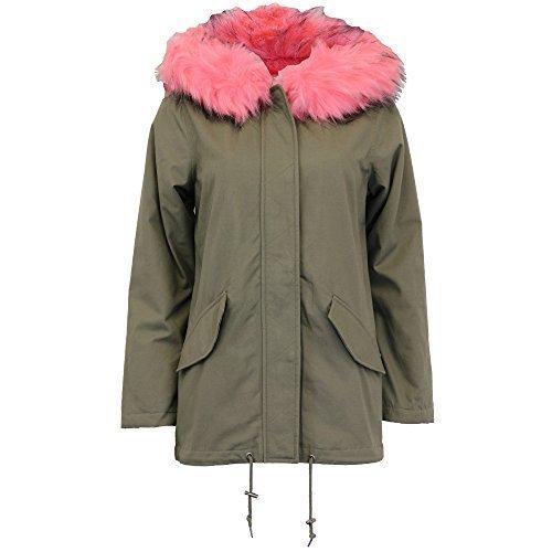 Brave Soul Ladies Jacket Parka Coat Hooded Fur Sherpa Fleece Lined Winter New Khaki/Coral - PANTHERCOR