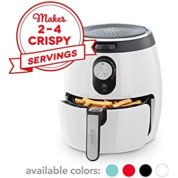 DASH DMAF355GBWH02 Deluxe Electric Air Fryer + Oven Cooker with Temperature Control, Non Stick Fry Basket, Recipe Guide + Auto Shut off Feature, 3qt, White