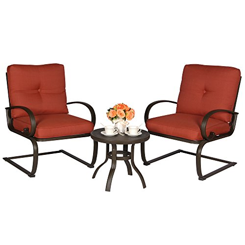Cloud Mountain 3PC Outdoor Bistro Furniture Patio Set, Iron Frame Round Table, 2 Chairs, Garden Set with Cushioned Seats, Brick Red