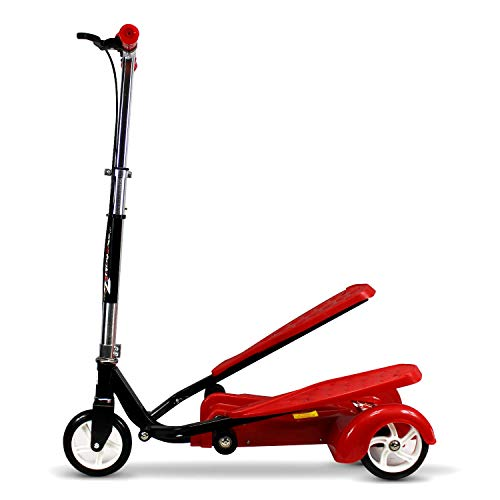 Ped-Run3 Kids Scooter for Boys and Girls with Advanced Dual Pedal Action, Bike Scooter Hybrid (Red)