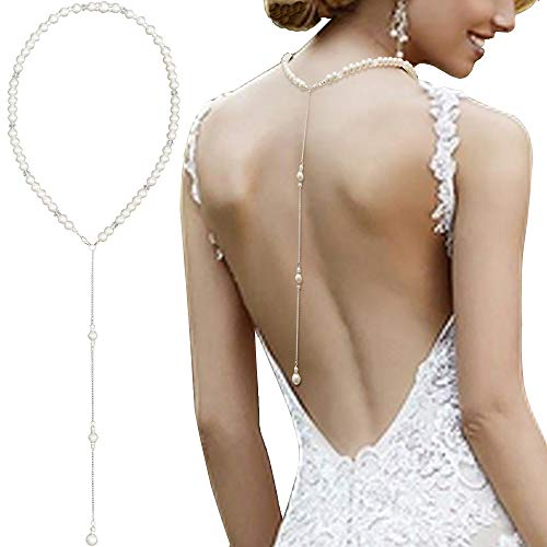 Necklace Backdrop (Artificial Pearls And Crystal Backdrop Necklace Wedding Prom Body Chain Jewerly Backless Dress Accessories)