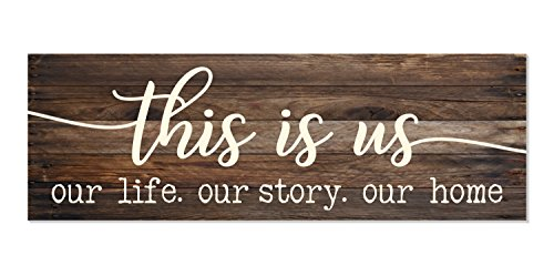 MRC Wood Products This Is Us Our Life Our Story Our Home Rustic Wood Wall Sign 6×18 (Brown)