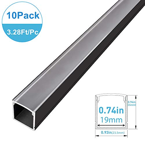 Silver Aluminum Profile for LED Strip Light Installations V01 Model 10 Pack End Caps and Mounting Clips 1.64ft//0.5 Meter inShareplus V Shape LED Aluminum Channel System With Transparent Cover