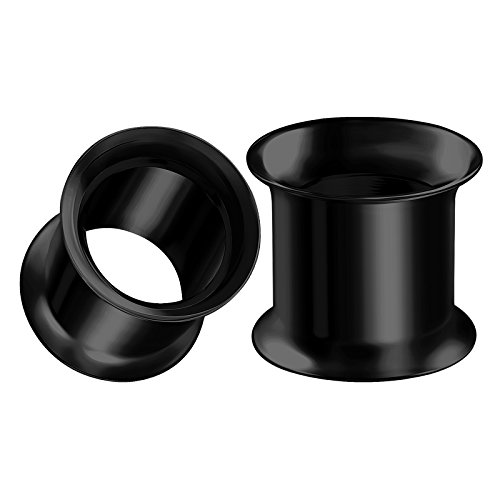 BIG GAUGES Pair of Stainless Steel 00g Gauge 10mm Black Double Flared Piercing Jewelry Ear Stretching Lobe Plug Tunnel Earring BG0109 ()