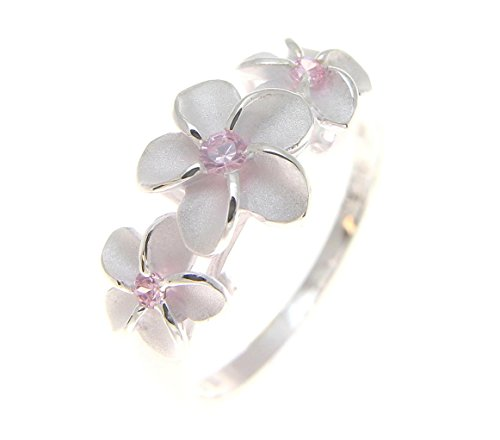 Flowers Ring Hawaiian (Arthur's Jewelry Sterling Silver 925 3 Hawaiian Plumeria Flower Ring Pink cz Size 6)