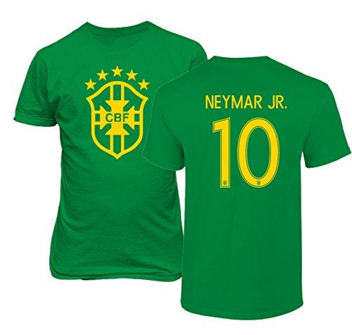 Tcamp Brazil 2018 National Soccer #10 NEYMAR JR. World Championship Boys Girls Youth T-Shirt (Green, Youth (Brazil Soccer Youth T-shirt)