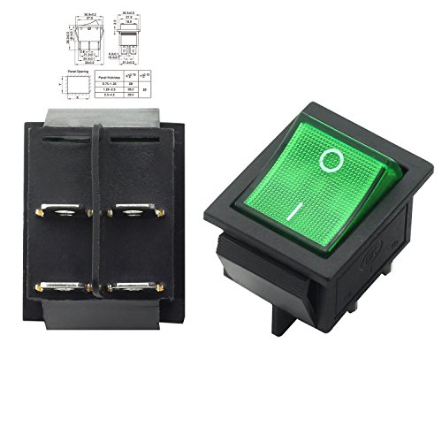 Magic&shell 2-Pack Rocker Power Switch 16A 250V AC 4 Pin 2 Position ON/Off Power Switch DPST Green Button with Light