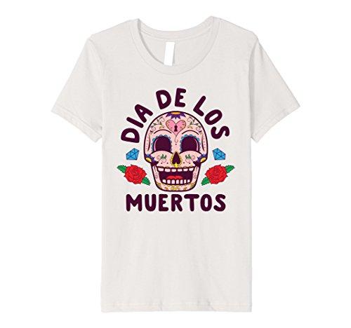 Diy Halloween Costumes Dead Girl (Kids Day Of The Dead Halloween Costume Dia de los Muertos T-Shirt 12 Silver)